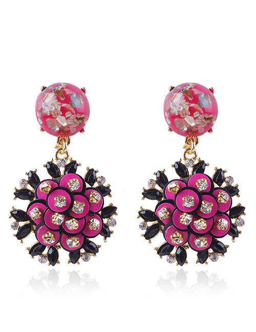 Fashion Plum Red Flowers Shape Design Long Earrings