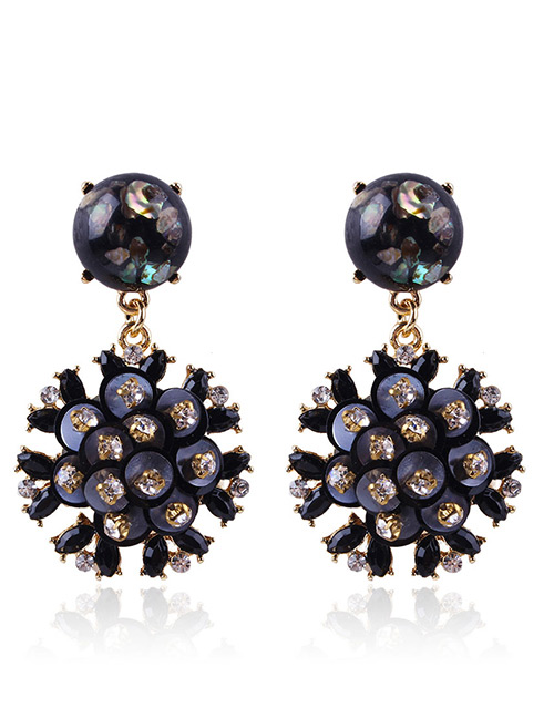 Fashion Black Flowers Shape Design Long Earrings