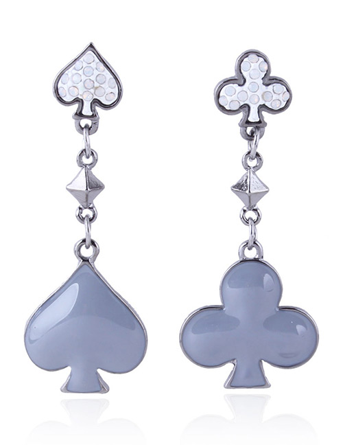 Fashion Gray Poker Shape Decorated Long Earrings