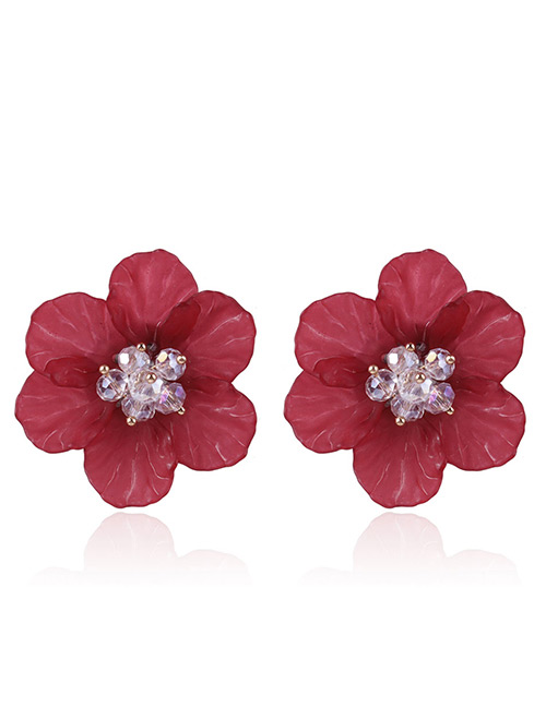 Fashion Dark Red Beads Decorated Flower Shape Earrings