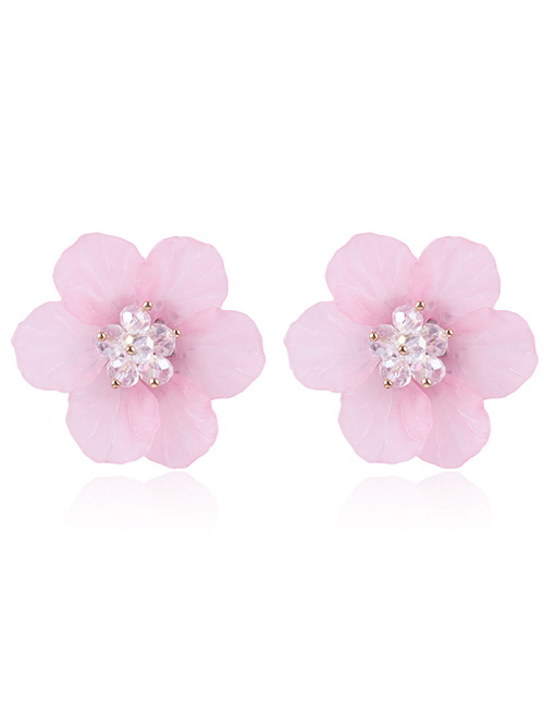 Fashion Pink Beads Decorated Flower Shape Earrings