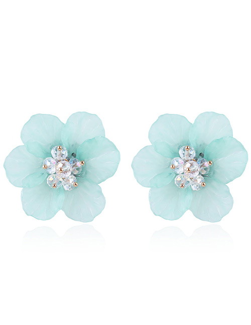 Fashion Light Green Beads Decorated Flower Shape Earrings