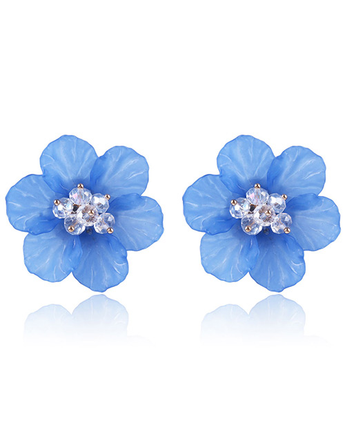 Fashion Blue Beads Decorated Flower Shape Earrings