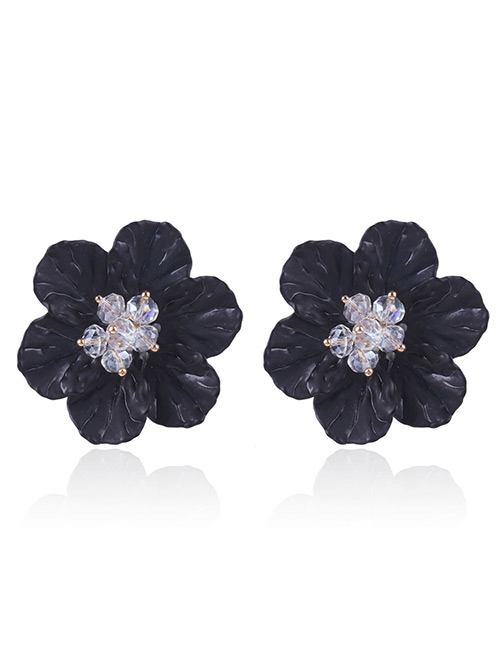 Fashion Black Beads Decorated Flower Shape Earrings