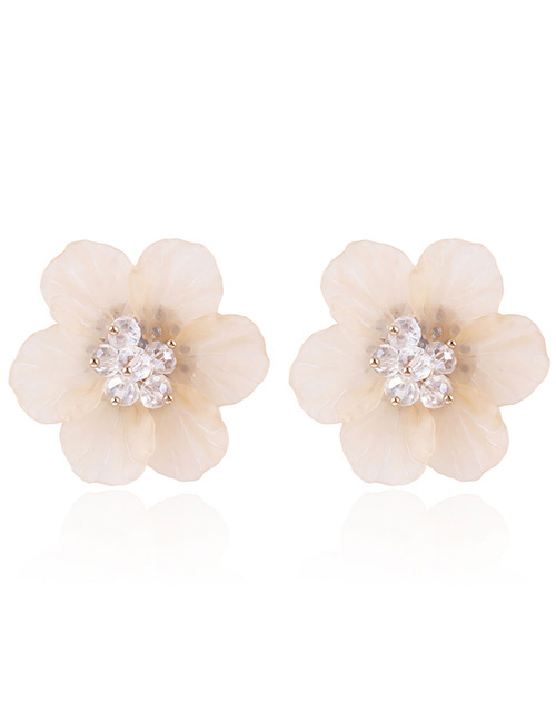 Fashion Yellow Beads Decorated Flower Shape Earrings