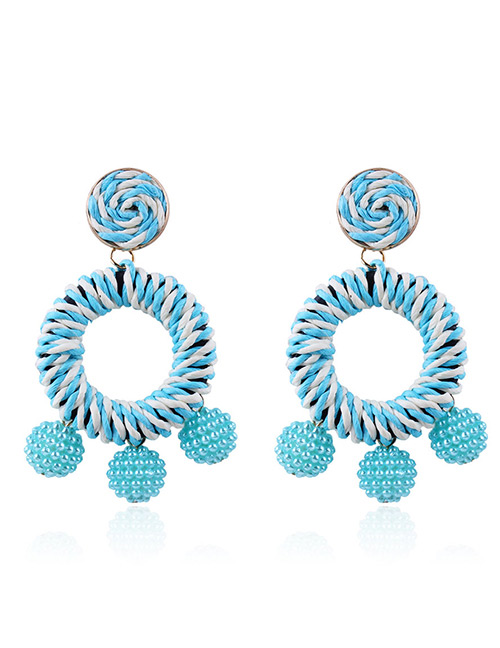 Fashion Pale Blue Circular Ring Decorated Simple Earrings
