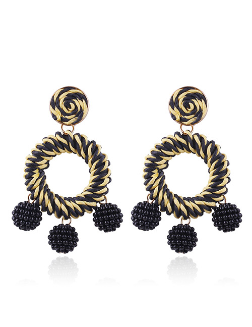 Fashion Black+yellow Circular Ring Decorated Simple Earrings