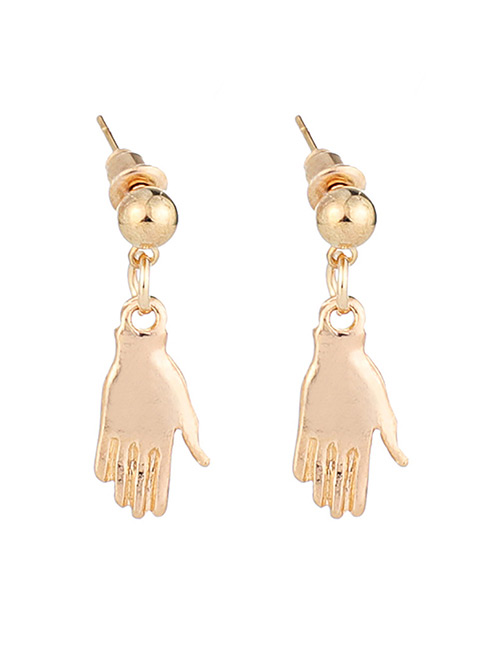 Fashion Gold Color Palm Shape Design Pure Color Earrings