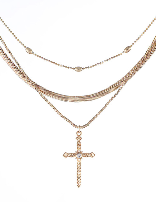 Fashion Gold Color Cross Shape Decorated Multi-layer Necklace