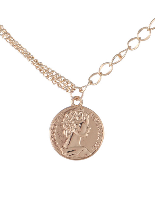 Fashion Gold Color Girl Pattern Pendant Decorated Necklace