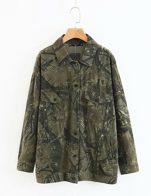 Trendy Olive Camouflage Pattern Decorated Blouse