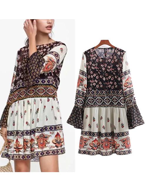 Trendy Multi-color Embroidery Design Round Neckline Dress