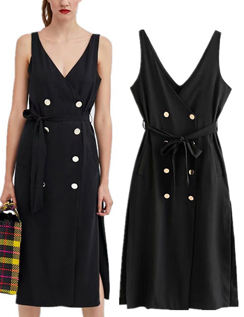 Trendy Black V Neckline Design Pure Color Long Dress