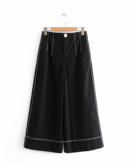 Trendy Black Pure Color Decorated Loose Pants
