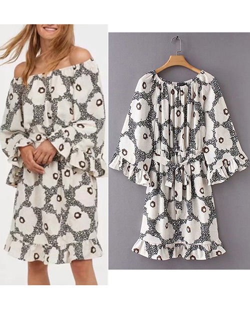 Trendy White+black Flower Pattern Design Off Shoulder Dress
