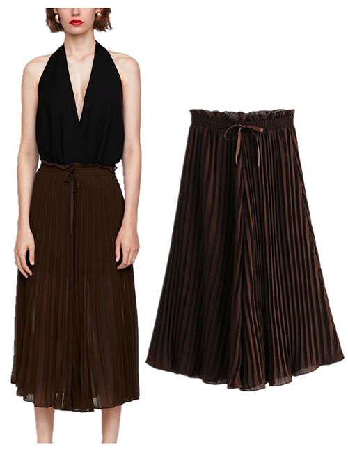 Trendy Coffee Pure Color Decorated Loose Pants