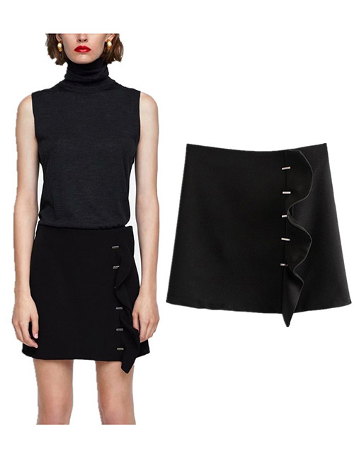 Trendy Black Pure Color Design A-line Skirt