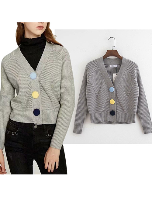 Trendy Gray Buttons Decorated V Neckline Cardigan