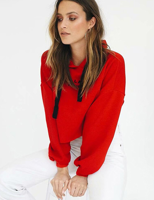 Trendy Red Pure Color Design Loose Hoodie