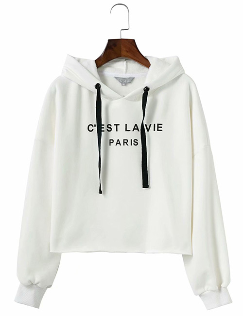 Trendy White Pure Color Design Loose Hoodie