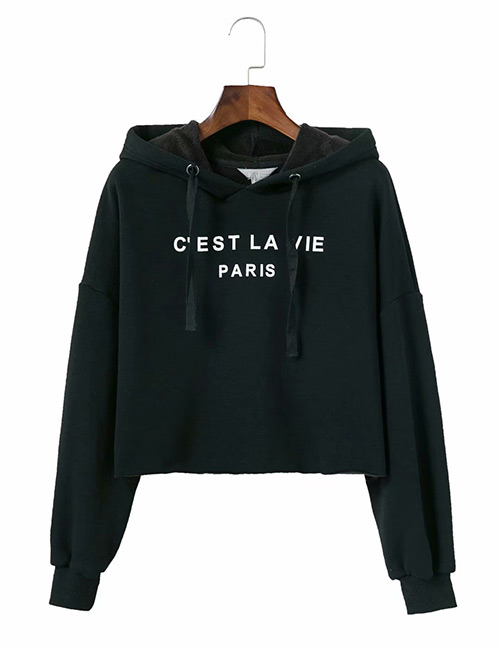 Trendy Black Pure Color Design Loose Hoodie