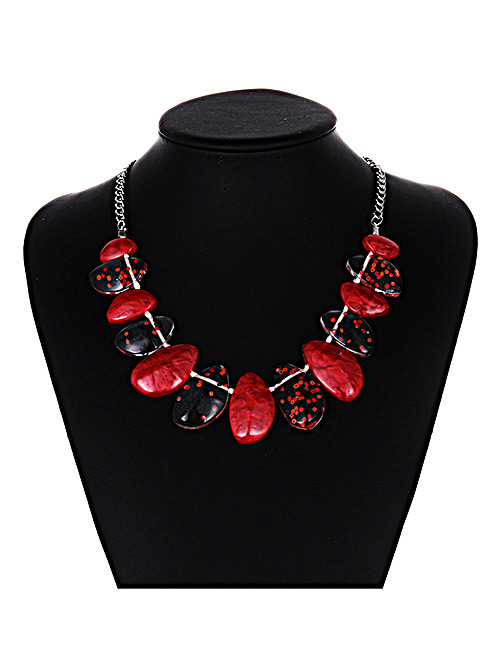 Fashion Red Irregular Shape Design Necklace