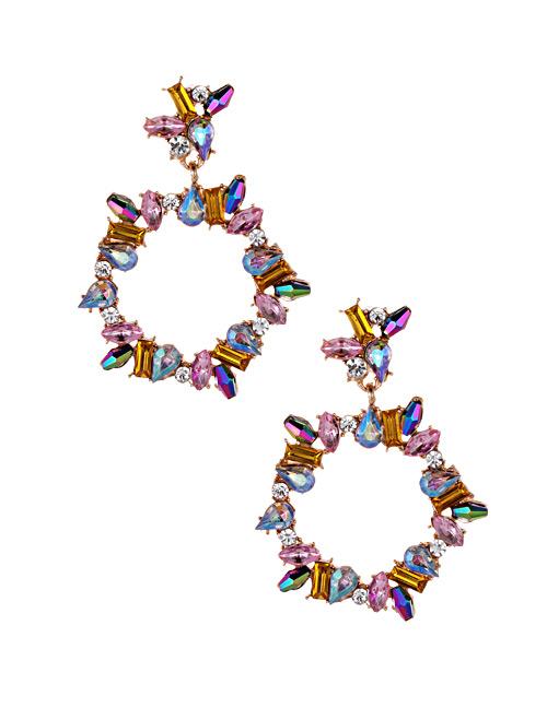 Fashion Pink Full Diamond Design Circular Ring Earrings