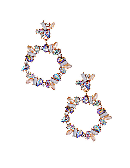 Fashion White Full Diamond Design Circular Ring Earrings