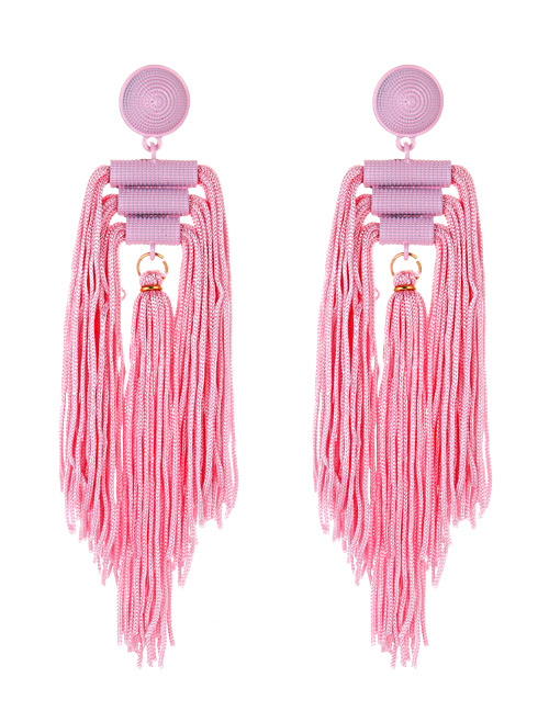 Fashion Pink Tassel Decorated Pure Color Long Earrings