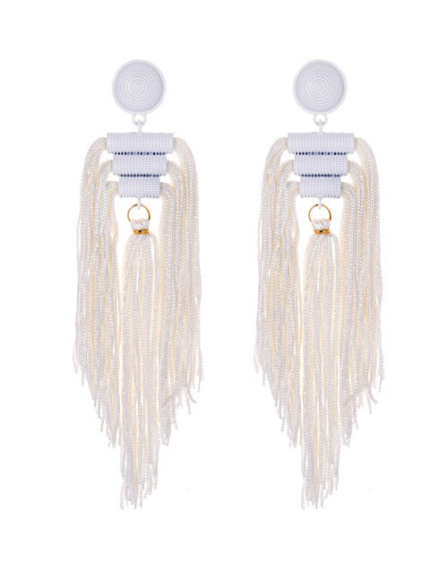Fashion White Tassel Decorated Pure Color Long Earrings