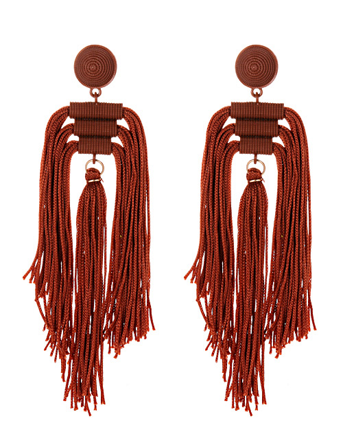 Fashion Brown Tassel Decorated Pure Color Long Earrings