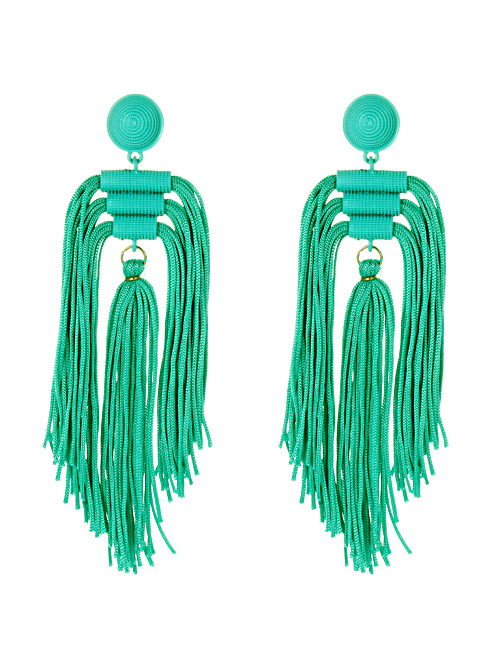 Fashion Blue Tassel Decorated Pure Color Long Earrings