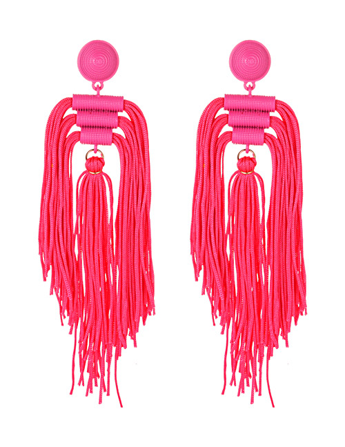 Fashion Red Tassel Decorated Pure Color Long Earrings