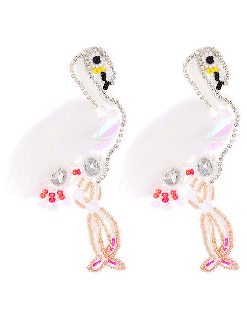 Fashion White Beads Decorated Flamingo Shape Earrings