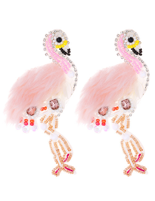 Fashion Pink Beads Decorated Flamingo Shape Earrings