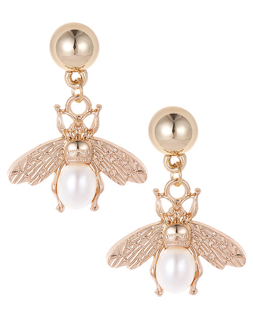 Fashion Gold Color Pearl Decorated Bee Shape Earrings
