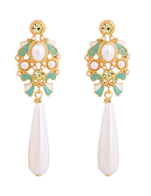 Fashion Green+white Pearls Decorated Hollow Out Earrings