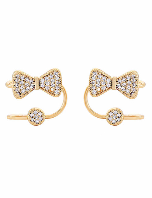 Fashion Gold Color Bowknot Shape Decorated Earrings