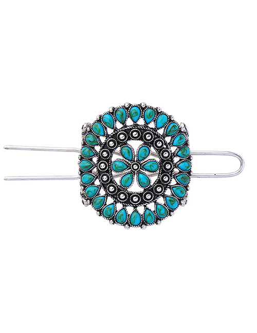 Fashion Green Flower Decorated Hollow Out Hairpin