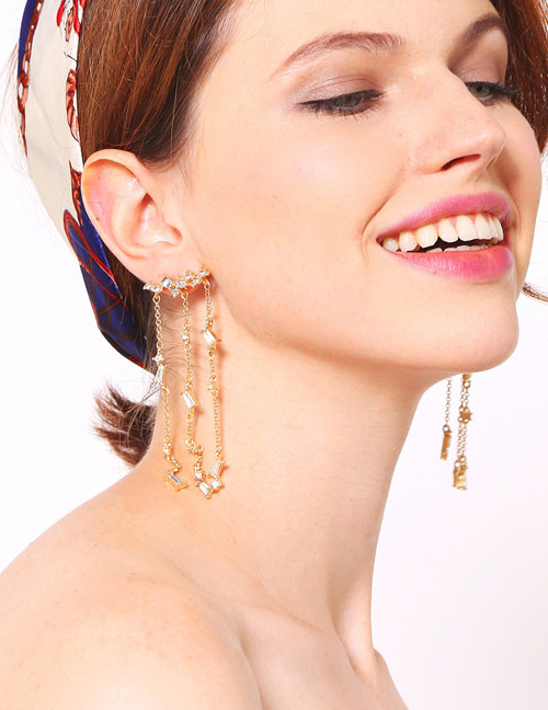 Fashion Gold Color Diamond Decorated Long Tassel Earrings