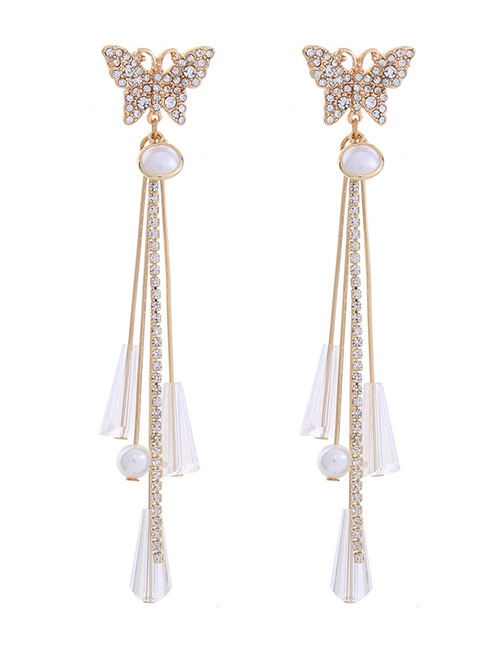 Fashion Gold Color Butterfly Decorated Long Tassel Earrings