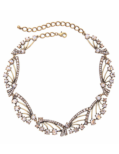 Fashion Gold Color Full Diamond Design Hollow Out Necklace