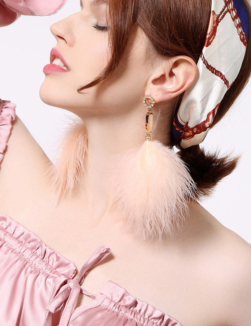 Fashion Orange Feather Decorated Long Earrings