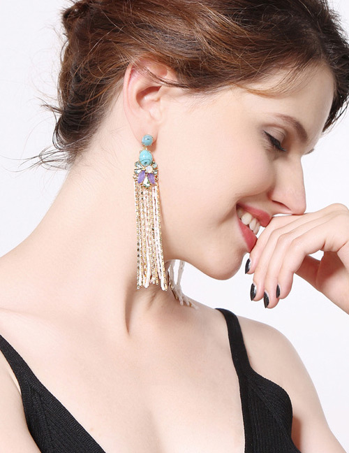 Fashion Gold Color Flowers Decorated Long Tassel Earrings