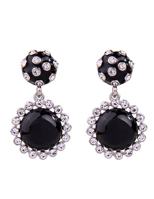 Fashion Black Round Shape Design Simple Earrings