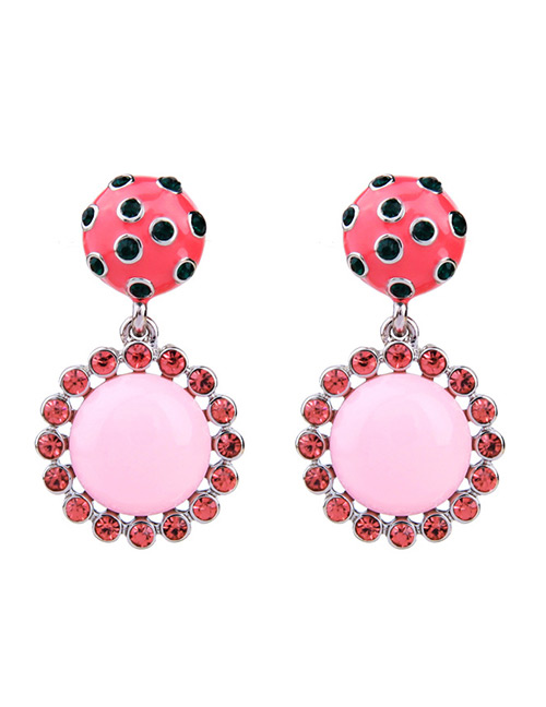 Fashion Pink Round Shape Design Simple Earrings