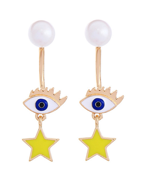 Fashion Yellow+white Eyes&star Pendant Decorated Earrings