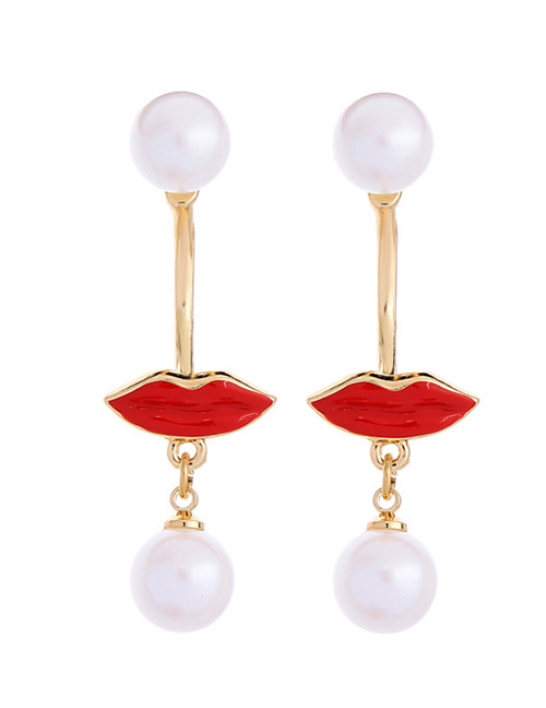 Fashion Red+white Lips&pearls Pendant Decorated Earrings