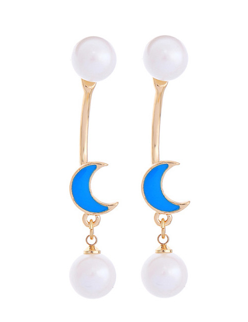 Fashion Sapphire Blue+white Pearls&moon Pendant Decorated Earrings