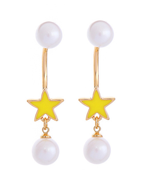 Fashion Yellow+white Pearls&star Pendant Decorated Earrings